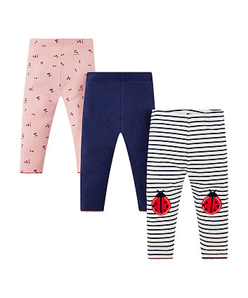 pink, striped and navy leggings - 3 pack
