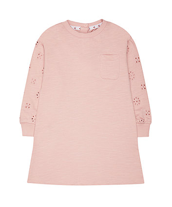 pink broderie sweater dress