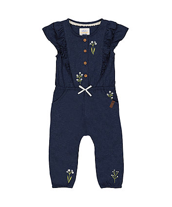 navy floral embroidered jumpsuit