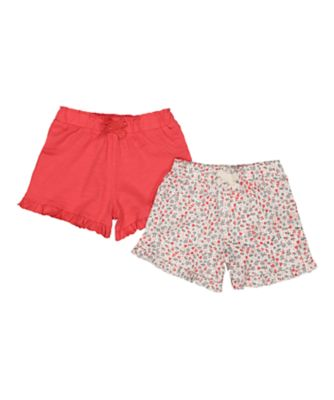coral flower shorts - 2 pack