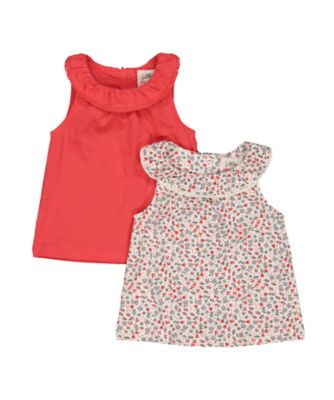 coral and floral vest t-shirts - 2 pack