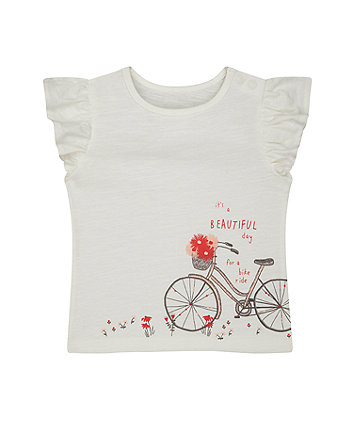 white bike and flowers t-shirt