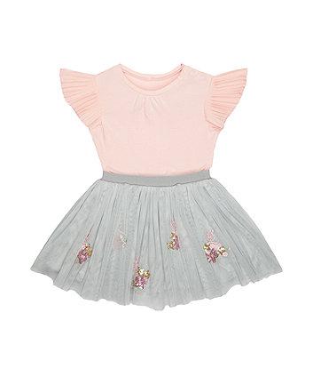 pink floral sequin twofer