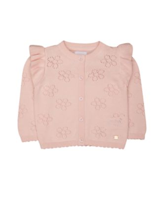 pink floral pointelle cardigan