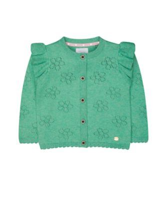 mint floral pointelle cardigan