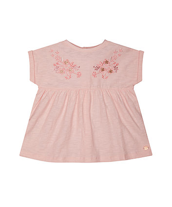 embroidered pink smock t-shirt