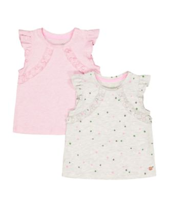 spot grey marl and pink vests – 2 pack