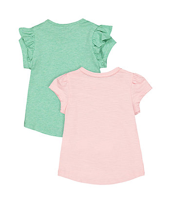 pink floral and green frill t-shirts - 2 pack