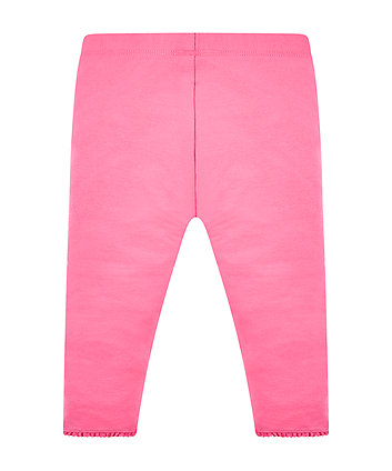 hot pink crochet frill leggings