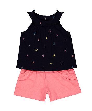 fruit navy vest and pink shorts set