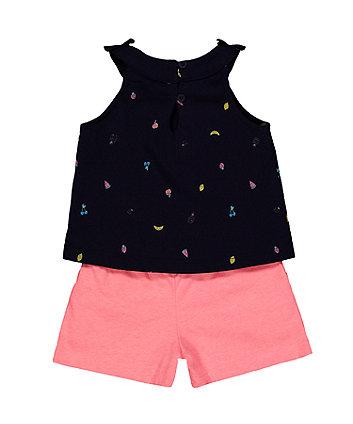 navy fruit vest and pink shorts set
