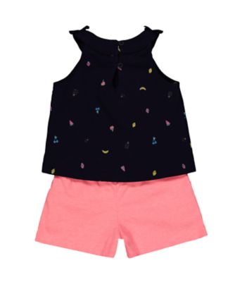 fruit navy vest and pink shorts set