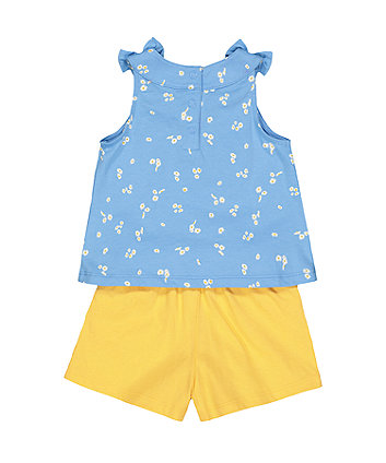 blue daisy vest and shorts set