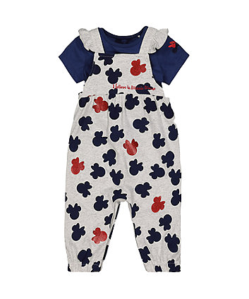 Disney minnie mouse dungarees and t-shirt set