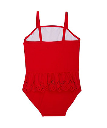 red frill swimsuit
