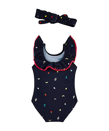 navy fruit print swimsuit and headband set