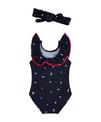 navy fruit print swimsuit and headband set