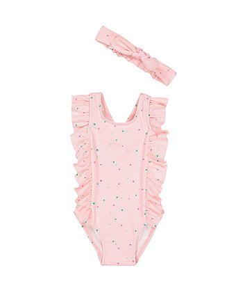 pink spot swimsuit and headband set