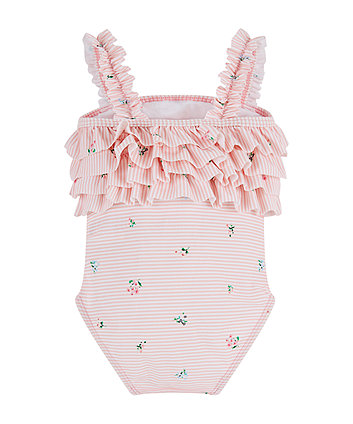pink stripe floral swimsuit