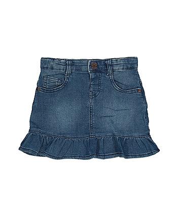 blue denim frill skirt