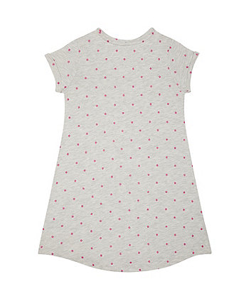 grey, pink spot trapeze dress