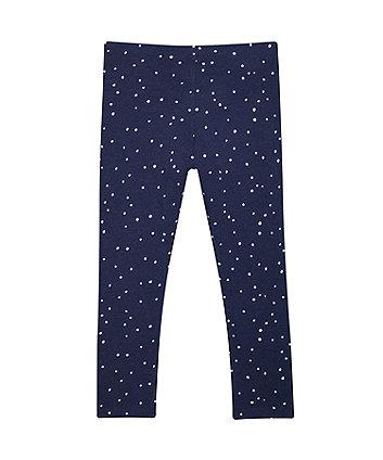 navy spot leggings