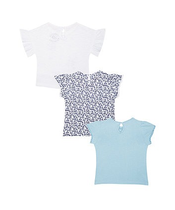 floral white and blue t-shirts – 3 pack