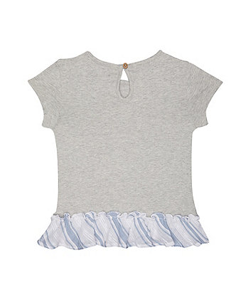 lovely floral frill grey t-shirt