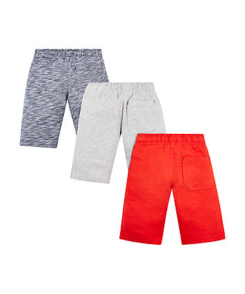 striped, grey and red shorts - 3 pack