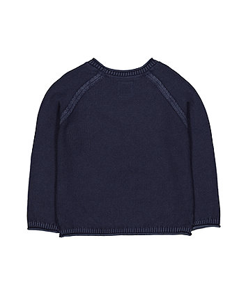 indigo washed knitted jumper