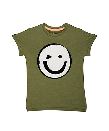 khaki smiley face t-shirt