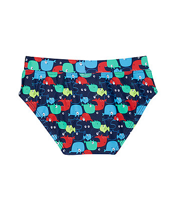 navy whale swimming trunks