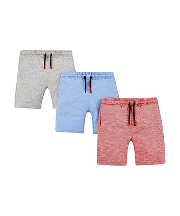 red, grey and blue shorts - 3 pack