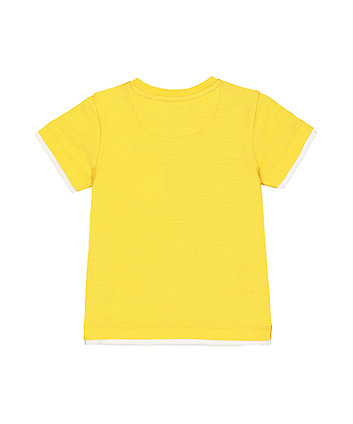 yellow mock layer t-shirt