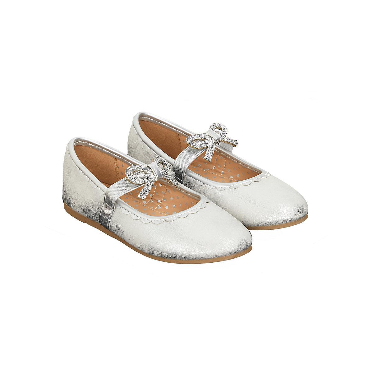 silver bow ballerina shoes