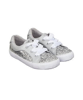silver glitter ribbon trainers