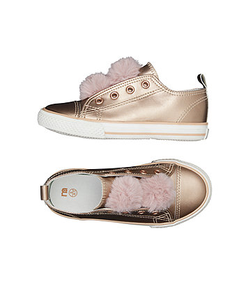 rose gold pom laceless trainers