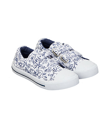 white and navy ditsy floral trainers