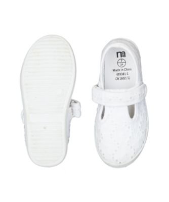 white broderie t-bar canvas shoes