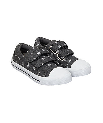 grey vehicle canvas shoes