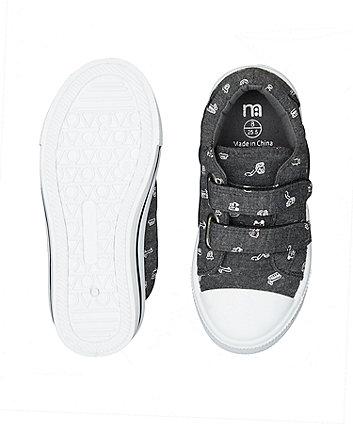 grey vehicle canvas shoes