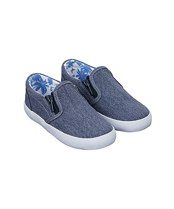 denim double zip canvas shoes