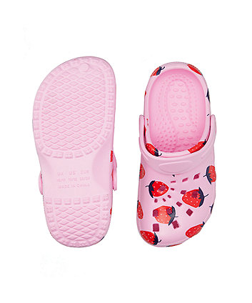 pink strawberry clogs