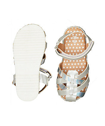 glitter silver jute fisherman sandals