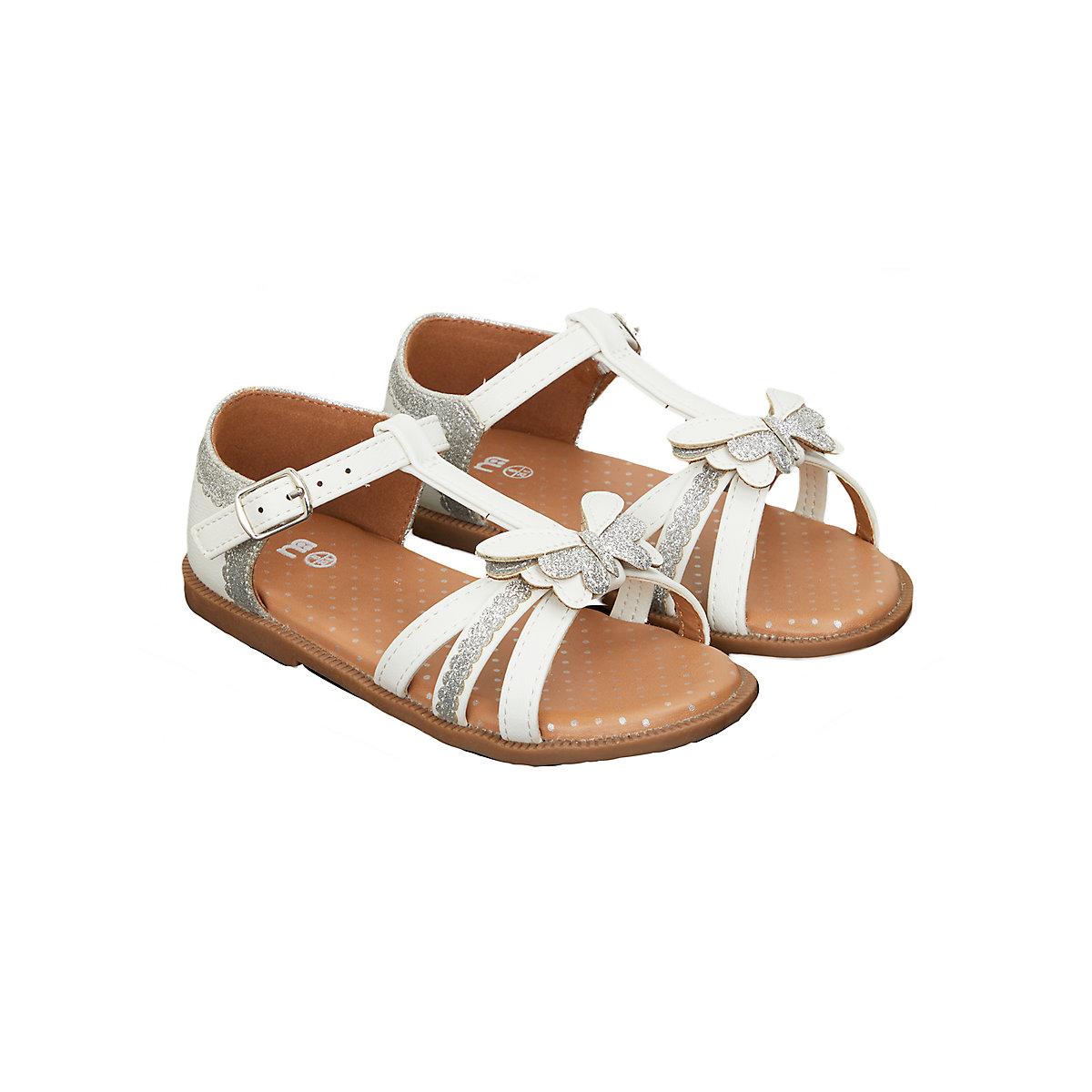 glitter butterfly white sandals
