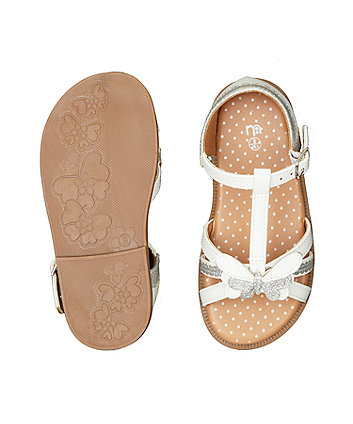 white glitter butterfly sandals