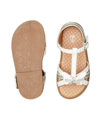 glitter butterfly white sandals