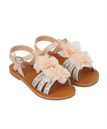 922452ea80b2a corsage flower glitter silver sandals