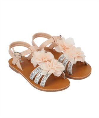 corsage flower glitter silver sandals