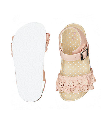 pink ruffle sandals